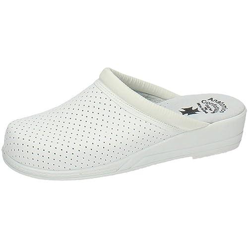 MADE IN SPAIN Z Zuecos Piel Blancos Mujer Calzado Trabajo  Amazon.es  Zapatos  y complementos 258601cae25