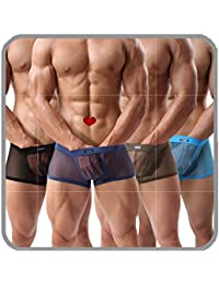 7bf0ff9a0 Men s Underwear Sexy Mesh Breathable Boxer Briefs Low Rise Cool Boxers Pack  Set