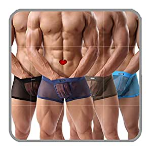Men's Boxer Briefs Sexy Mesh Breathable Underwear Low Rise Cool Boxer(36HeiM)