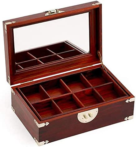 SBSNH 男性用および女性用ウォッチボックス収納ボックス、8スロットウォッチボックスジュエリーディスプレイケース木製ウォッチオーガナイザー