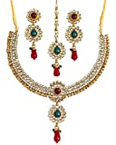 Touchstone Gold Tone Indian Bollywood Kundan Look red Green Colors Party wear Jewelry Necklace for Women