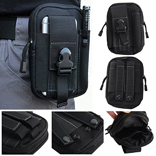 Hannahool 600D Compact Multi-Purpose Tactical Utility Gadget Pouch Tools Waist Bag Pack Tactical Molle Pouch EDC Utility Gadget Belt Waist Bag with Cell Phone Holster Holder for iPhone 6Plus (Black)