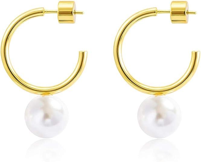 Freshwater Pearl Hoop Earrings for Women Pearl Hoops Small Hoop Earrings for Women 14k Gold Filled or 925 Sterling Silver Hypoallergenic Hoops