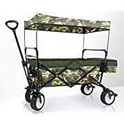 WonderFold Outdoor Premium Multipurpose Collapsible Folding Wagon With Canopy, Active Steering Handle, Sturdy Stand, One Pedal Brakes, Wide EVA Tires (Tyrian Purple)