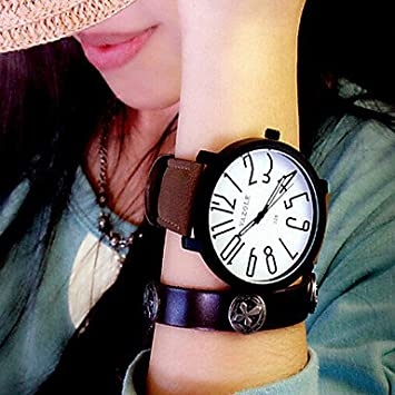 Relojes Hermosos, Yazole para mujer del reloj de cuarzo de cuero de la manera relojes