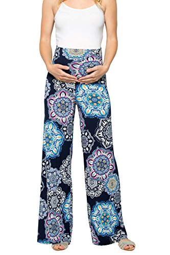 My Bump Women's Maternity Casual Bohemian Damask Palazzo Pants W/Tummy Control (Small, Navy/Pink SK) by My Bump