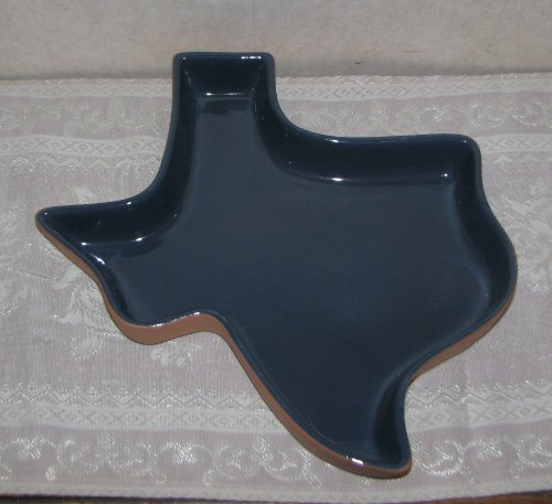 Frankoma Pottery Blue Texas Chip Relish Dish