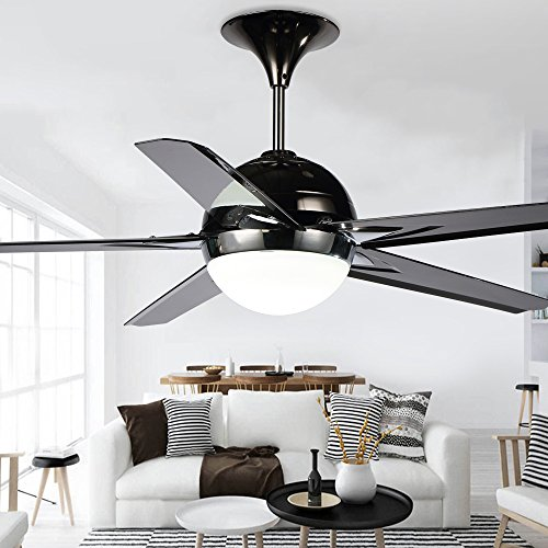 RainierLight Modern Black Ceiling Fan Lamp 5 Reversible Blades Remote Control Led Light Chandelier for Indoor Mute Energy Saving 48 Inch by RainierLight (Image #3)