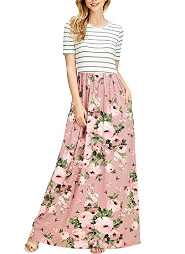 MEROKEETY Women's Striped Short Sleeve Floral Print Summer High Waist Pockets Maxi Dress,Dusty Pink,Small