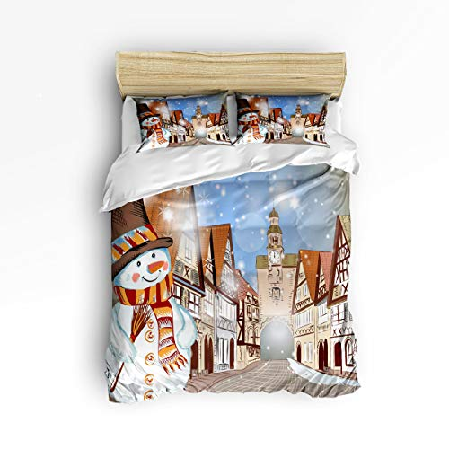 YEHO Art Gallery Soft 3 Piece Duvet Cover Set (1 Comforter Cover with 2 Pillow Cases) for Girls Boys,Cartoon Castle Cute Snowman Merry Christmas Christmas Bedding Sets,Full Size