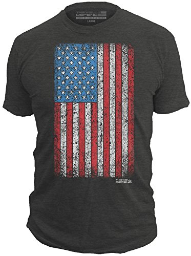 This Well Defend - Distressed American Flag - Made of USA - Mens 52/48 Premium T-Shirt, Charcoal Heather (X-Large) ()