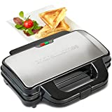 Andrew James Sandwich Toaster Deep Fill Toastie Toasty Maker | 4 Slice 2 Portion Non-Stick Plates for Thick Breakfast Sandwiches & Cheese Snack - No Bags Required | 900W Machine