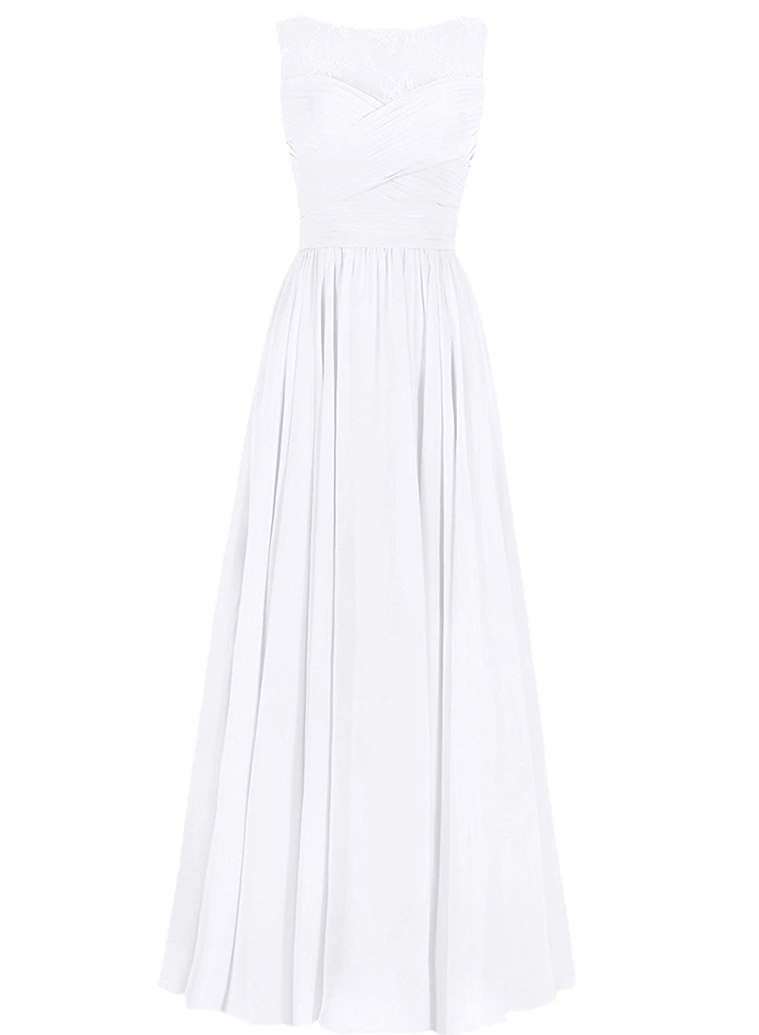JAEDEN Lace Evening Dresses Long Prom Party Gown Chiffon Bridesmaid Dress White UK18: Amazon.co.uk: Clothing