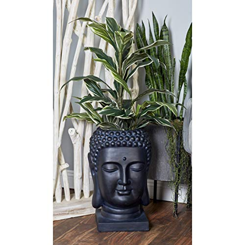 Buddha Planter Black Flower Pot Garden Statues Spiritual Theme Yoga Monk Mendicant Sculptures Meditating Buddhism Carving Sage Budha Warrior Meditator Figurine Home Decor, Stone