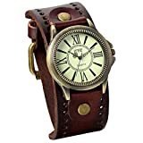 JewelryWe Christmas Gifts for Him Vintage Leather Strap Wide Band Wristwatch Cuff Quartz Watch for Men - Brown