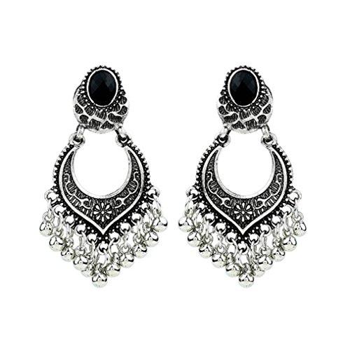 Price comparison product image Fheaven BoHo Dangle Indian Earrings Charm Rhinestone Ethnic Earrings Vintage Beads Drop Earing Hoop (Silver)
