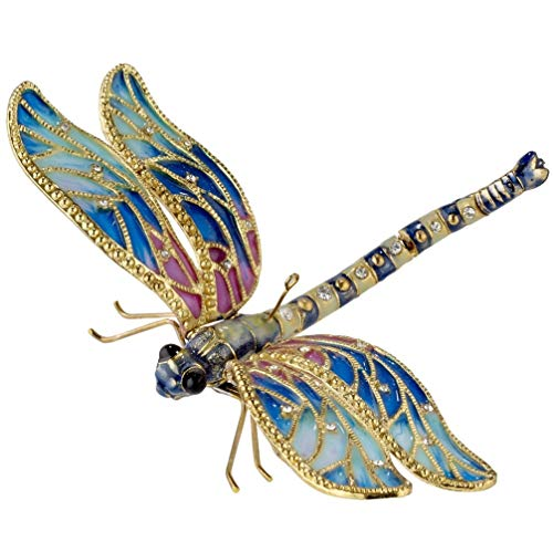 Home and Holiday Shops Large Blue Jeweled Dragonfly Articulated Cloisonne Metal Christmas Tree Ornament
