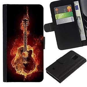 Planetar® Modelo colorido cuero carpeta tirón caso cubierta piel Holster Funda protección Para Samsung Galaxy S5 Mini / SM-G800 (Not For S5!!!) ( Fire guitar )