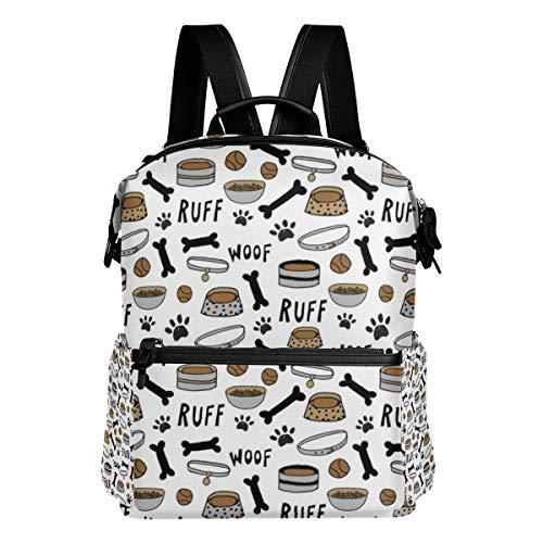 Cute Dog Bowls White Bone Dog Food Dog Bowl Pet Pet Design Pet Illustration Cute Dogs Shoulder Bag Daypacks Teenagers's Travel Bagpacks Casual Daypack Bag Backpack for Men Women ()