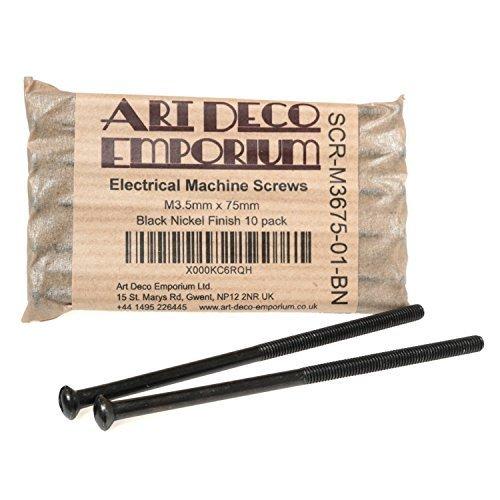 Art Deco Emporium Electrical Machine Screws M3.5mm x 75mm Black Nickel Finish 10 pack Art Deco Emporium Ltd.