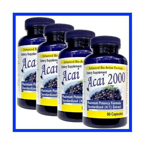 - 4 Pack -Acai 2000 Max Potency 360 CAPSULES 100% PURE, 4:1 Extract ACAI Berry Natural Nutrition, For Energy, Weight Loss, Detox Diet 4 Bottles, 4 Months , 2000 Mg, acai per serving 90 Caps