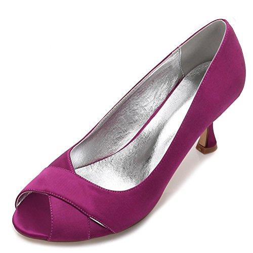 yc 13 Costura Seda L Sandalias Las Boda Peep E17061 Purple Mujeres a Medida Encaje Zapatos Como De Satén Toe xdBwAB60q