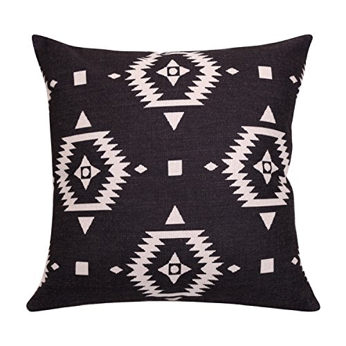 BreezyLife Aztec Throw Pillow Covers Ethnic Decorative Pillow Cases Square Linen Cushion Cover with Invisible Zipper for Sofa Couch Farmhouse Outdoor 18x18 Inch (Black)