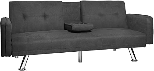 Recaceik Modern Convertible Futon Sofa Bed for Living Room with Armrest, Fold Up and Down Recliner Couch with Cup Holders Dark Gray