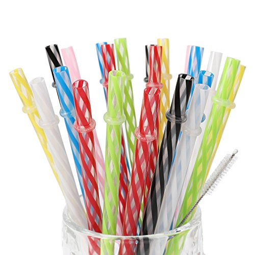 25 Pieces Reusable Plastic Straws. BPA-Free, 9 Inch Long Drinking Transparent Straws Fit for Mason Jar, Yeti Tumbler, Cleaning Brush Included.