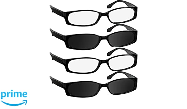 e628c3a3387f Reading Glasses for Men and Women - 4 Pack - 2 Black   2 Black Sun Readers  - Stylish Look with Sure-Flex Comfort Spring Arms   Dura-Tight Screws -  100% ...