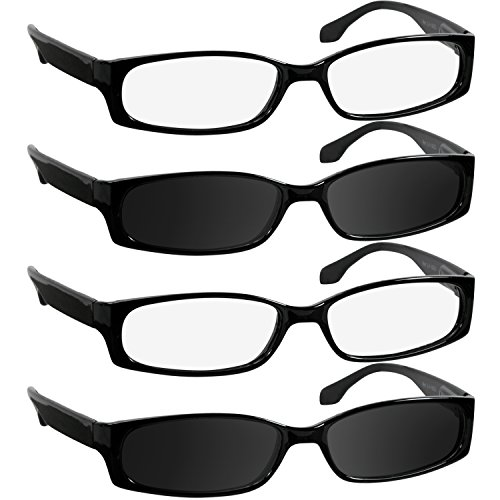 Reading Glasses 2.00 2 Black 2 Sun (4 Pack) F503 TruVision Readers ()