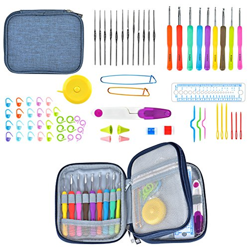 wuudi Crochet Hooks Set, Knitting Needle Kit, Ergonomic Soft Rubber Grip Handle in US Standard Sizes Letters B 2.0mm-J 6.0mm with Complete Knitting Needle Accessories Perfect for Arthritic Hands by wuudi