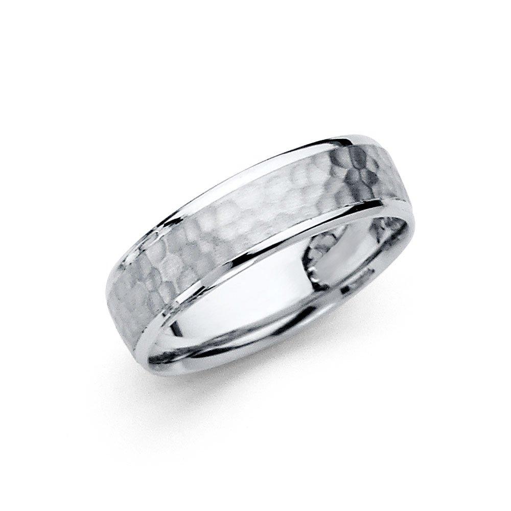 14k White Gold Band Solid Wedding Ring Hammered Finish Polished Edge Comfort Fit Men Women 5.5 mm Size 10