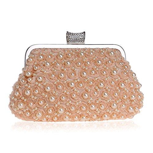 Women Clutch Bag Purse Evening Handbag Glitter Pearl Diamante Shoulder Bag For Bridal Wedding Party Prom Clubs Ladies Gift,Pink-23.513.54.5cm