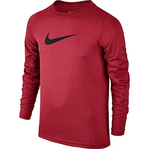 Nike Boys Legend Long Sleeve Athletic T-Shirt (University Red/Black, Small)
