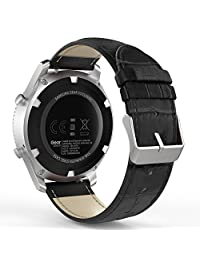 Gear S3 Watch Band, MoKo Premium Soft Genuine Leather Crocodile Pattern Replacement Strap for Samsung Gear S3 Frontier / S3 Classic / Moto 360 2nd Gen 46mm, BLACK (NOT FIT S2 & S2 Classic & Fit2)