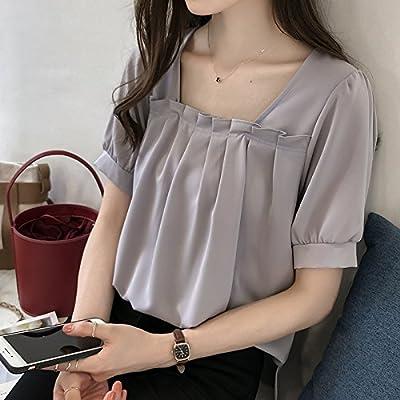 Xmy ladies vidéo lâche de couleur solide mince snow chemises femme manches courtes T-shirt le tempérament et les chemises sont code