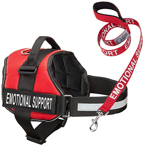 (Service Dog Vest Harness with EMOTIONAL SUPPORT Patches and Matching Leash, Emotional Support Animal Vest and Matching Leash Set (Medium,)