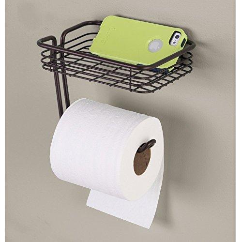 interdesign classico toilet paper holder with shelf for bathroom wall mount ebay. Black Bedroom Furniture Sets. Home Design Ideas