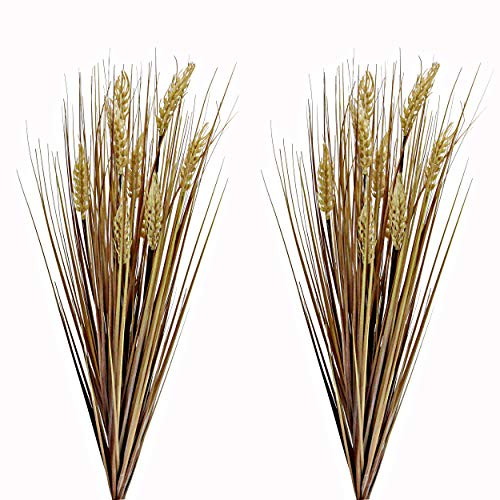 Admired By Nature ABN3B001-GLD-2 Realistic Faux 28 Inch Wheat Grass for Fall décor, Set of 2, Gold