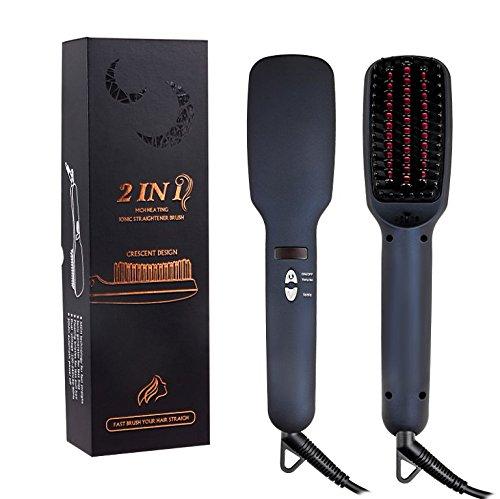 ARINO 2 IN 1 Hair Straightening Brush Ceramic and Ionic Hair Straightener Brush Anion with Faster Heating MCH Technology LED Display