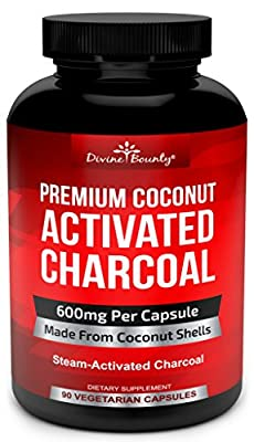 Organic Activated Charcoal Capsules - 600mg Coconut Charcoal Pills - Active Charcoal Powder Used for Gas Relief, Detox, Teeth Whitening, Bloating - 90 Veggie Caps by Divine Bounty