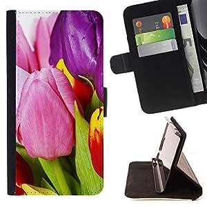 - tulips flowers varicoloured - - Monedero PU titular de la tarjeta de cr????dito de cuero cubierta de la caja de la bolsa FOR Samsung ALPHA G850 RetroCandy