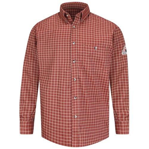 Bulwark Flame Resistant 6.5 oz Cotton/Nylon ComforTouch Plaid Dress Shirt, Red/Khaki Plaid, 2X Large Long