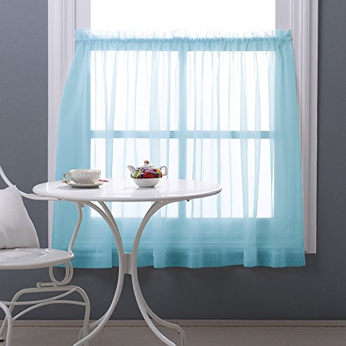 NICETOWN Rod Pocket Sheer Curtain - Sheer Voile Tier Curtain / Drape / Panel for Kitchen Window (One Pack, W60 by L36 inch, Baby Blue)