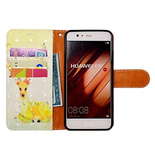 Funda Huawei P10,SainCat Funda de cuero sintético tipo billetera con correa de cordón de Suave PU Carcasa Con Tapa y Cartera,Soporte Plegable,Ranuras para Tarjetas y Billetera Funda de Flip Ranuras Ta Ciervo sika