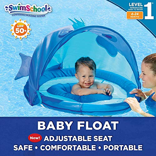 SwimSchool Blue Fun Fish Fabric Baby Pool Float, Splash & Play Activity Center with Retractable Canopy, Baby Boat with Safety Seat, Extra-Wide Inflatable Pool Float, Upf 50, 6 To 24 Months, Blue