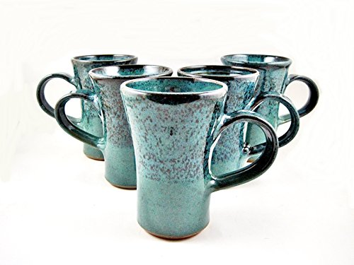 16 oz Teal Blue Handmade Coffee Mug – Brown Stoneware Tea Mug, Handcrafted By Ning's Pottery