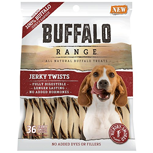 Buffalo Range All Natural, Grain Free Jerky Rawhide Chews for Dogs Pet Buffalo Jerky