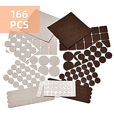 166 Piece Furniture Felt Pads, Anti-Scratch Anti Slip Self-Adhesive Noise Reduction Bumpers, Best Floor Protectors for Your Hardwood & Laminate Flooring.Variety Size Felt Pads